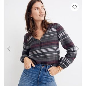 Madewell V-Neck Button-Down Shirt Pineview Plaid